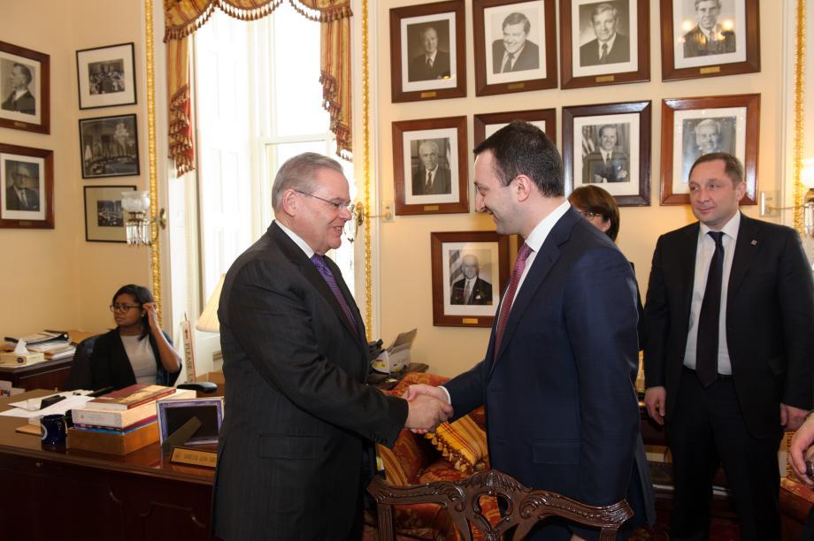 Chairman Menendez greets Prime Minister Irakli Garibashvili of Georgia