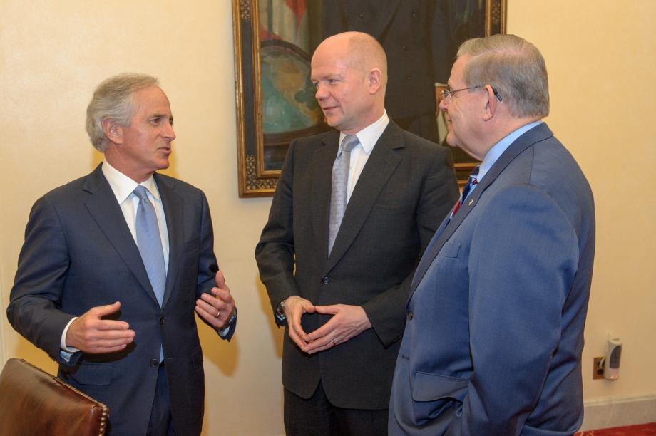 Senators Menendez and Corker speak with Foreign Secretary William Hague of Great Britain