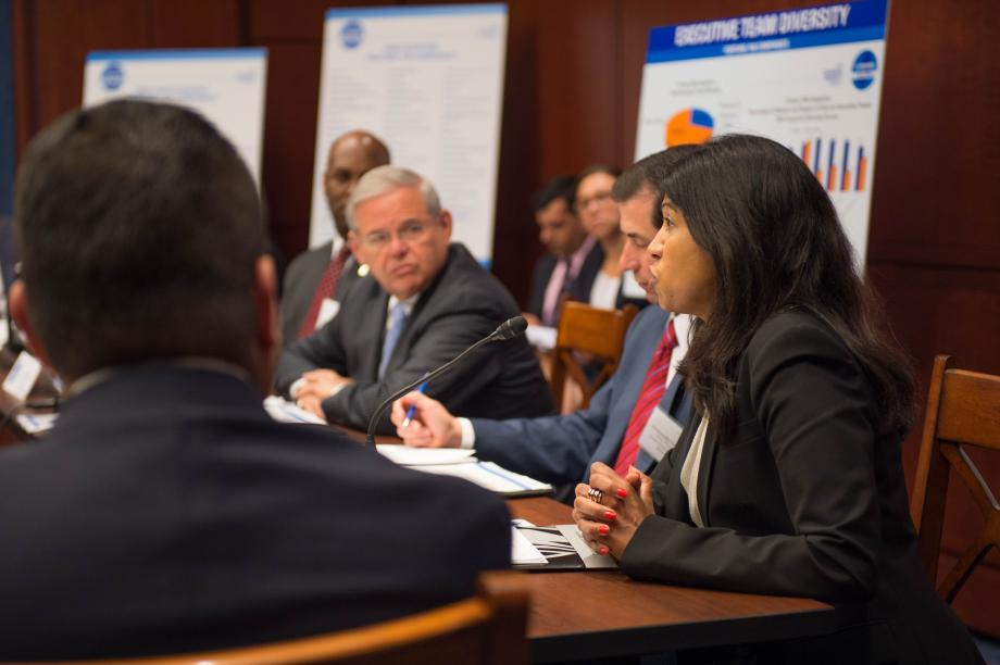 U.S. Senator Bob Menendez holds a strategy session with leaders of Fortune 100 companies committed to increasing corporate diversity and unveils his 2014 Corporate Diversity Survey Report.
