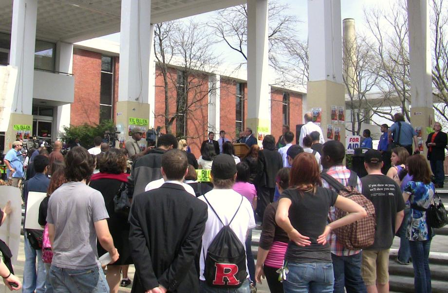 Celebrating victory for student aid with Rutgers University students (New Brunswick, NJ)