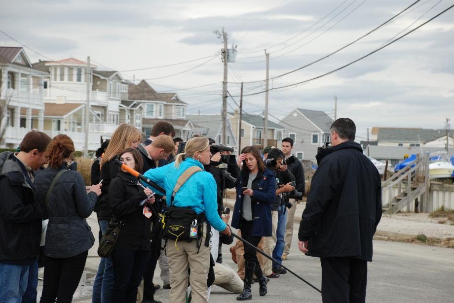 Press pooled in Brigantine, NJ. October 31, 2012