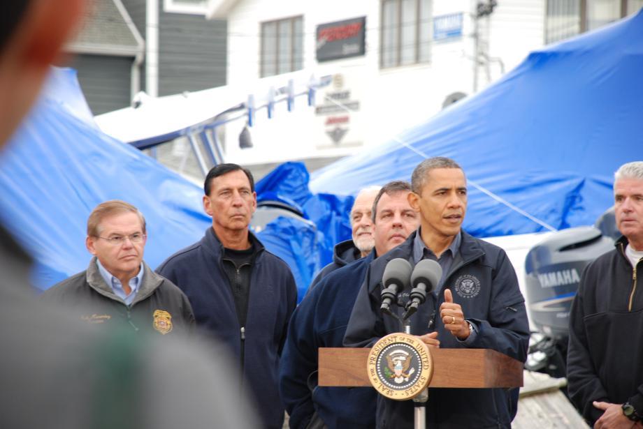 Senator Menendez stands with President Barack Obama in Brigantine, NJ. October 31, 2012