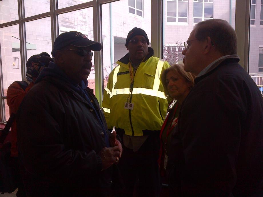 With Mayor Tweedle & RedCross manager in Pleasantville HS RedCross Shelter.  October 31, 2012