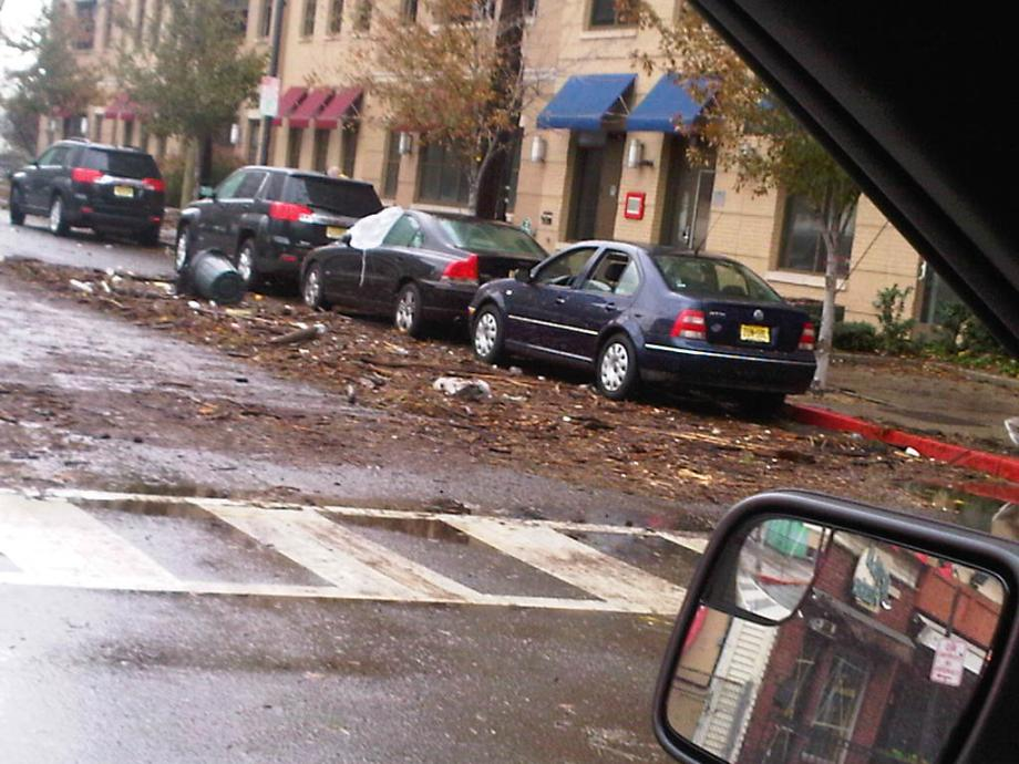 Cars damaged by debris in Hoboken. October 30, 2012