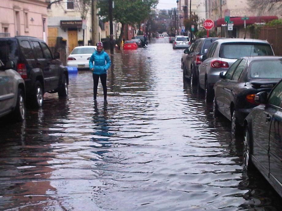 Flooding in Hoboken for blocks. Gas in water.  October 30, 2012