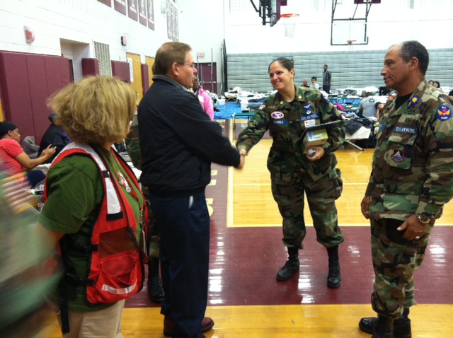 Visiting Pleasantville High School that has set up RedCross shelter.  October 31, 2012