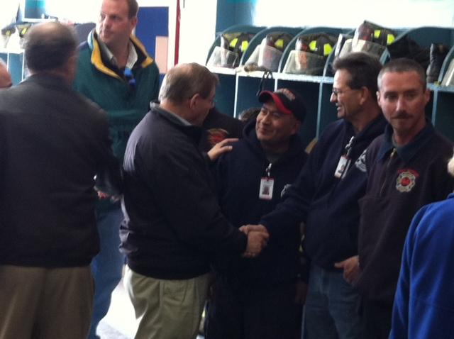 Senator Menendez meets with volunteers of the Seaside Heights Fire Department. November 18, 2012
