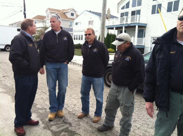 Greeting Brigantine Mayor Phil Guenther. October 31, 2012