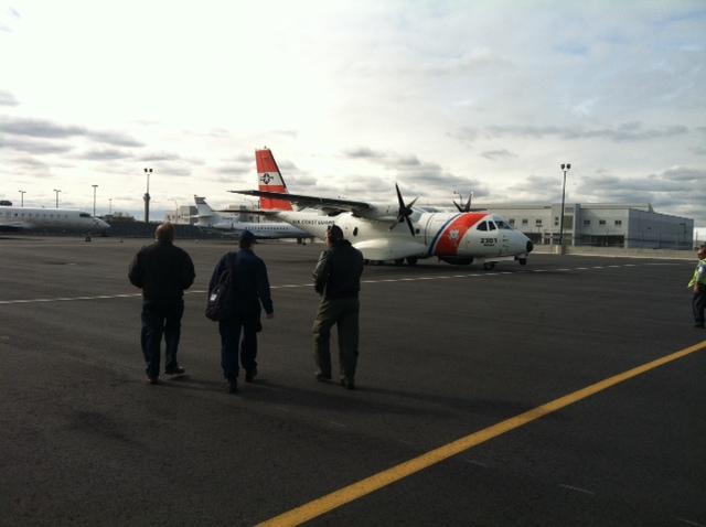 Heading to tour damage with Coast-Guard. November 1, 2012.