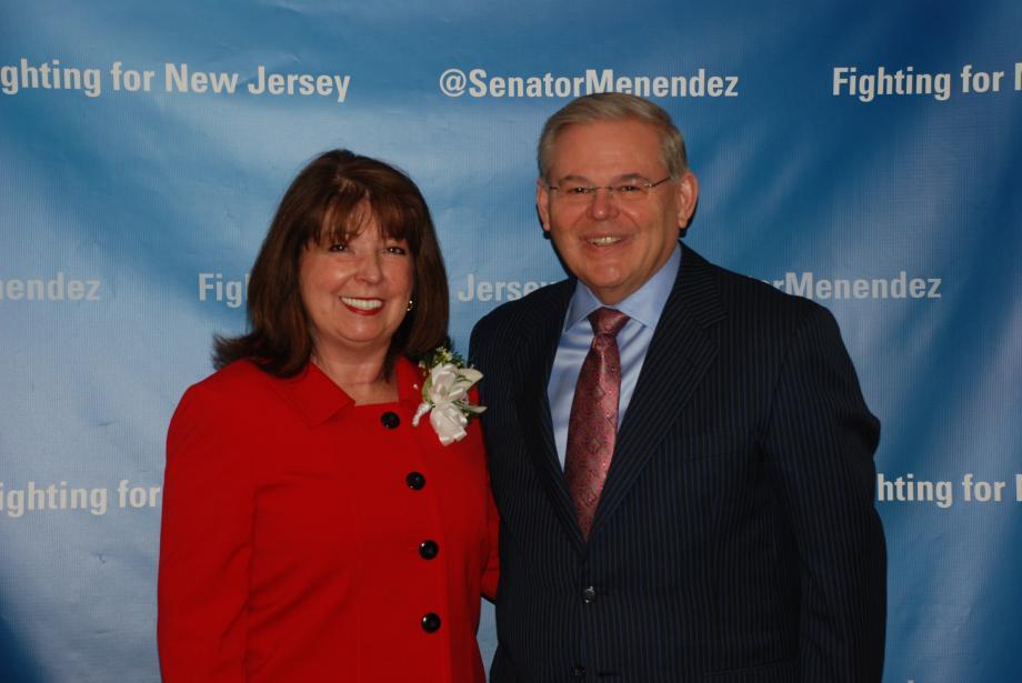 Senator Menendez and recipient Laurel Brennan.