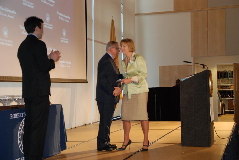 Award recipient Amy Mansue and Senator Menendez.