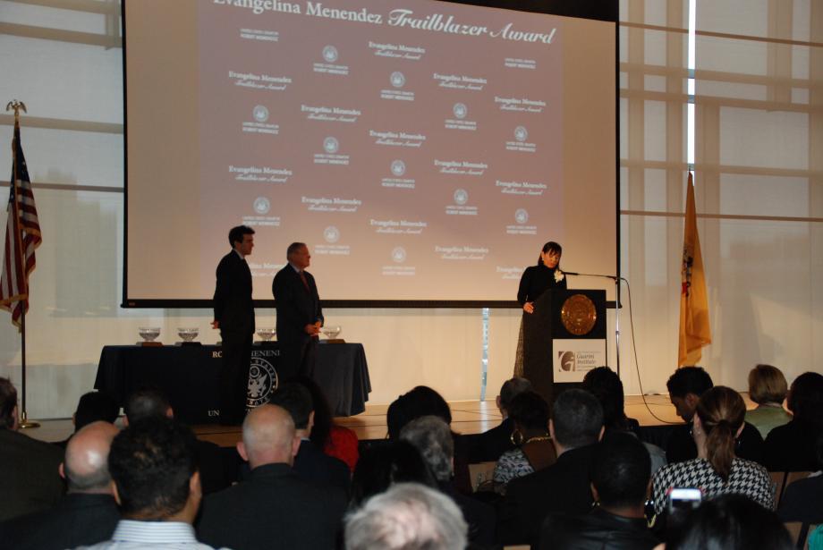 Award recipient Aida Marcial speaks.