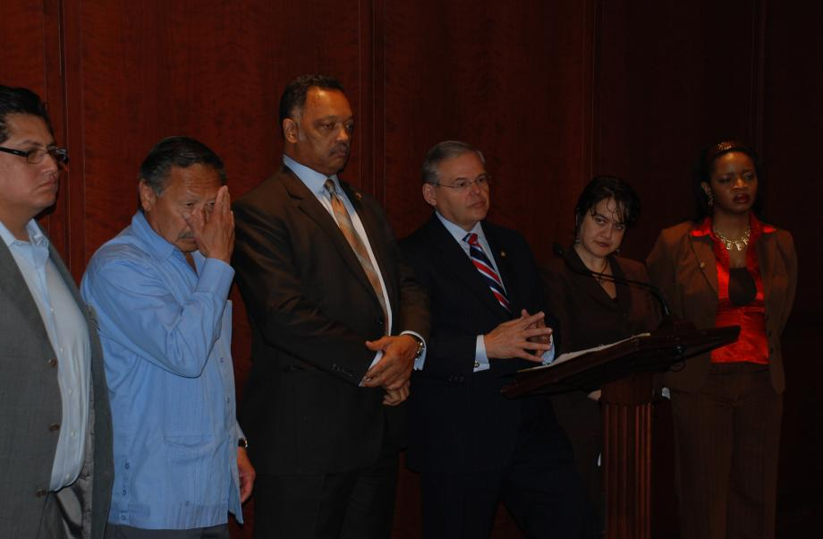 Standing with Rev. Jesse Jackson in support of workers' rights (Washington, DC)