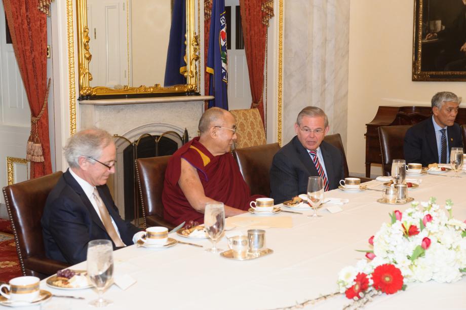 Senators Menendez and Corker speak with His Holiness the Dalai Lama