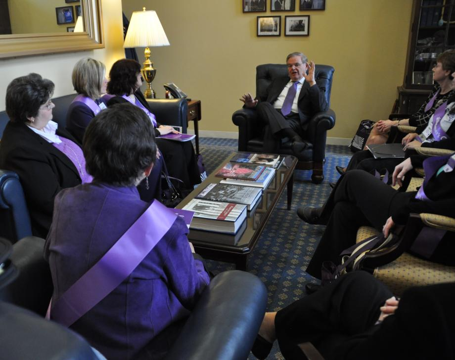 Senator Menendez speaking with members of the Alzheimer's Association.