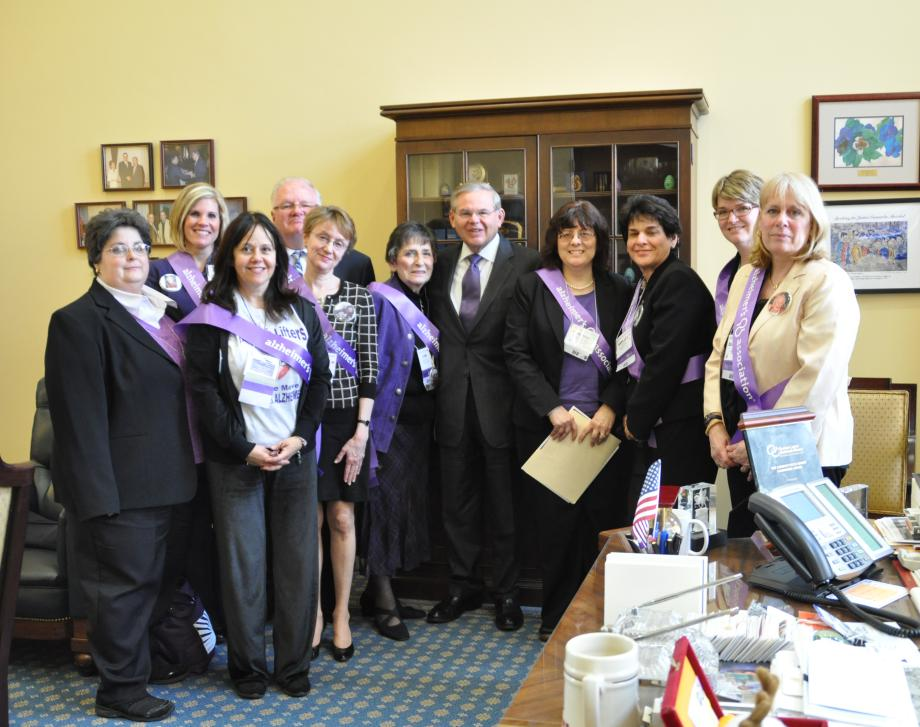 Senator Menendez with New Jersey members of the Alzheimer's Association.