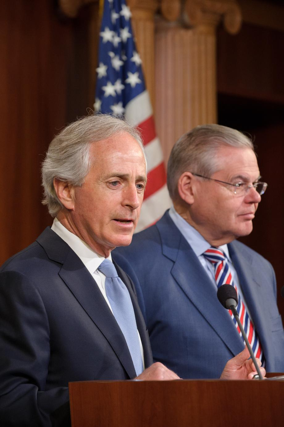 Ranking Member Corker speaks at press conference.