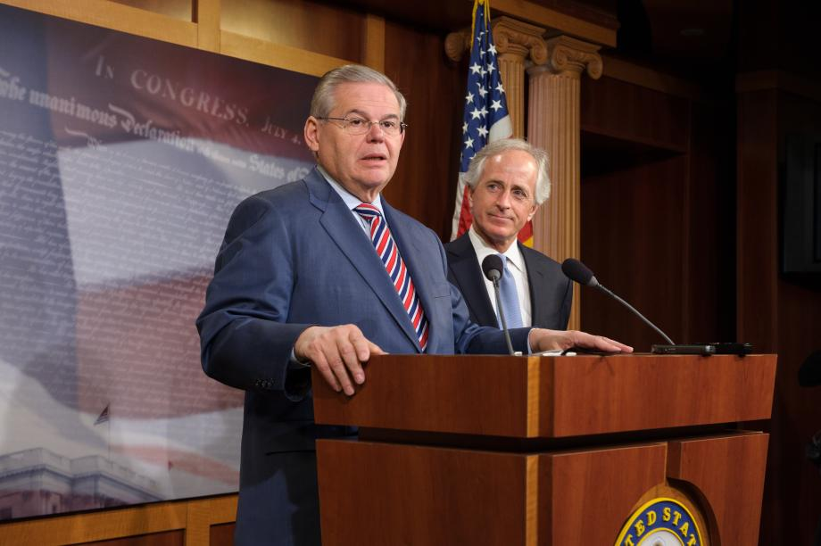 Chairman Menendez speaks at press conference.