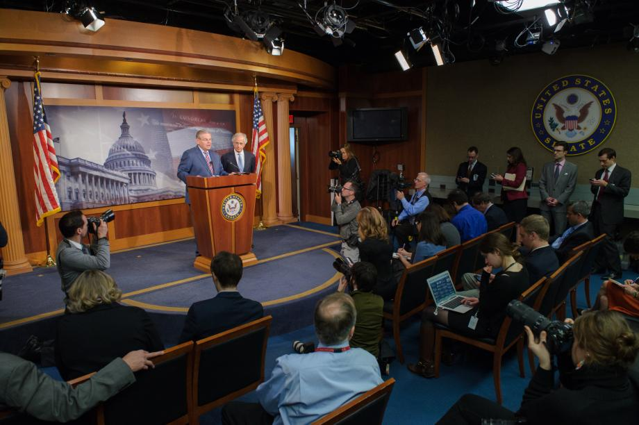 Chairman Menendez and Ranking Member Corker speak at press conference.