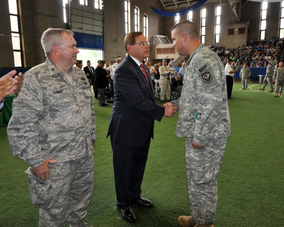 Menendez Supports Troops at Deployment Ceremony