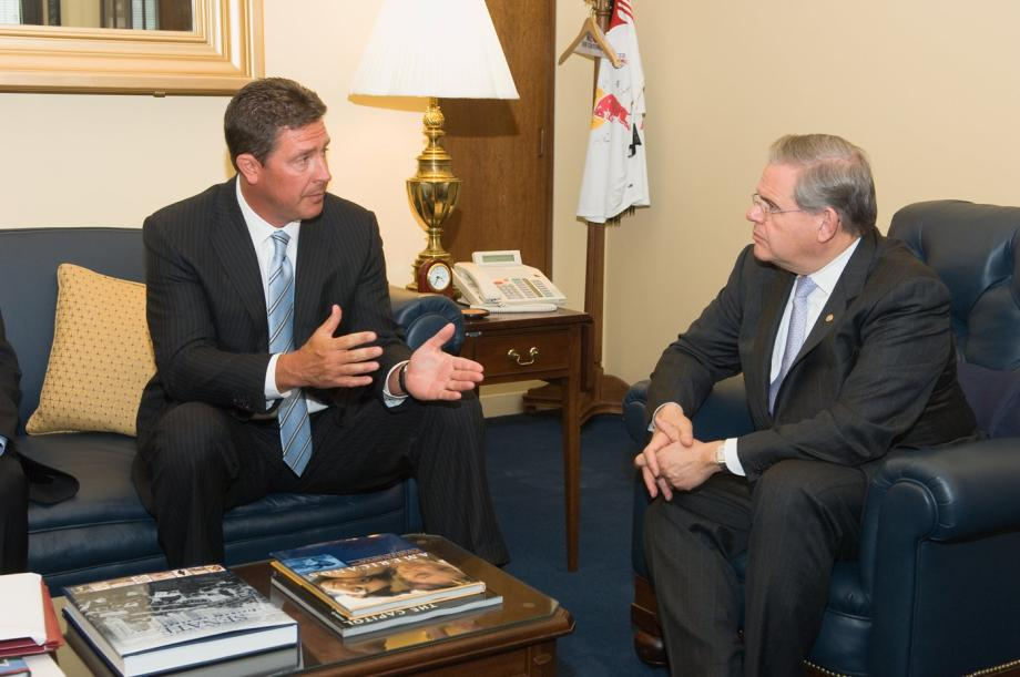 Senator Menendez discusses autism with former Dan Marino, former NFL quarterback and founder of the Dan Marino Foundation (Washington, DC)