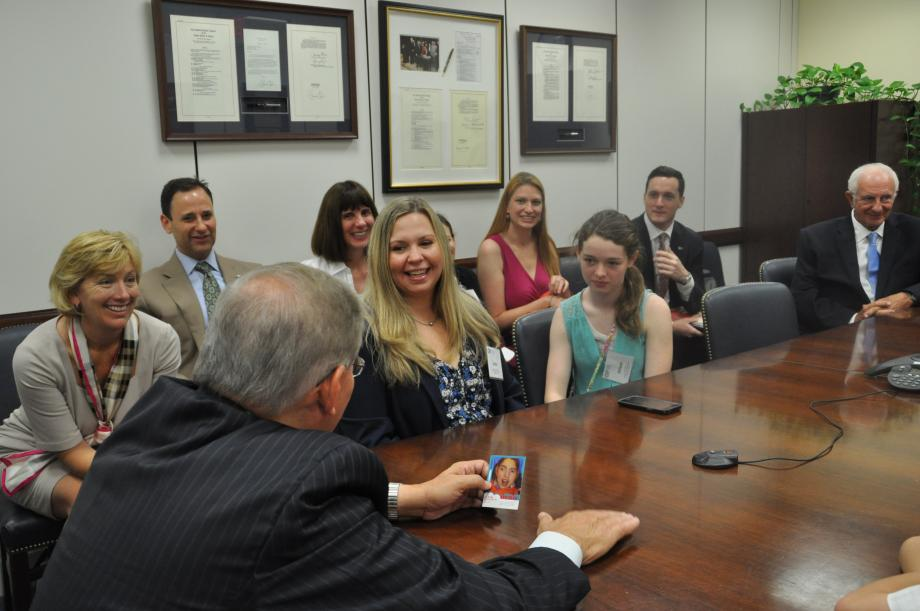 Sen. Menendez hears from Linda and Allison Salvetti, a family impacted by Children's Specialized Hospital.