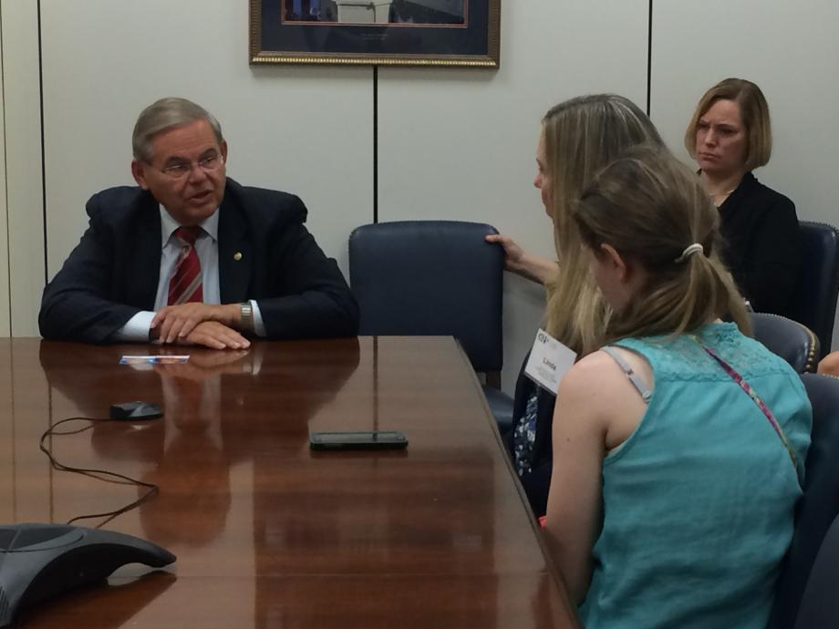 Sen. Menendez talks to Linda and Allison Salvetti, a family impacted by Children's Specialized Hospital.