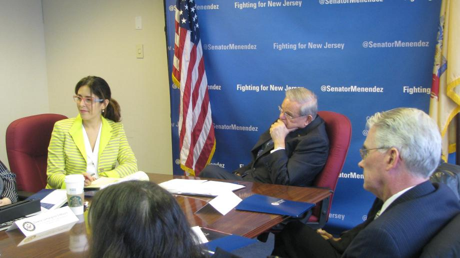 U.S. Senator Bob Menendez meets with New Jersey leaders who are advocating to end human trafficking.
