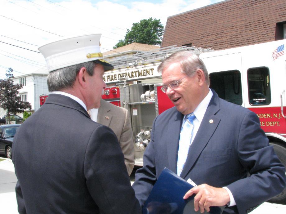 Senator Menendez and Linden Fire Chief Joseph Rizzo.