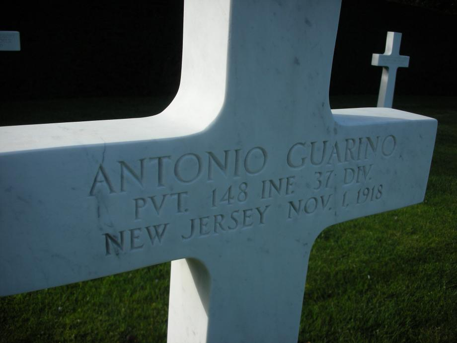 Tombstone of New Jerseyan Antonio Guarino at the WWI American Cemetery in Flanders Field, Belgium.