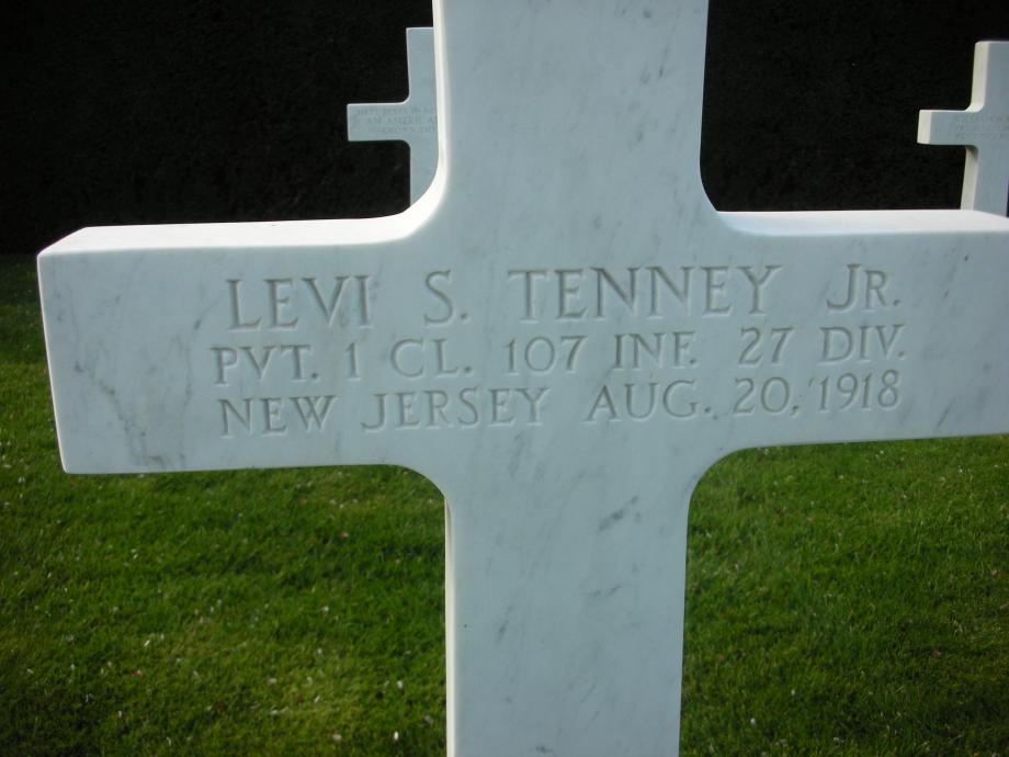 Tombstone of New Jerseyan Levi S. Tenney Jr at the WWI American Cemetery in Flanders Field, Belgium.