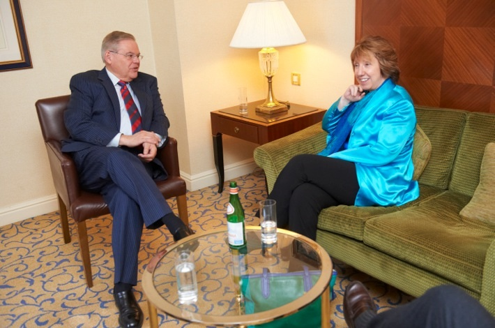 Chairman Menendez speaks with Lady Ashton, High Representative of the Union for Foreign Affairs and Security Policy for the European Union.