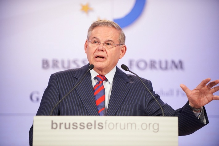 Chairman Menendez speaks at the German Marshall Fund's Brussels Forum.