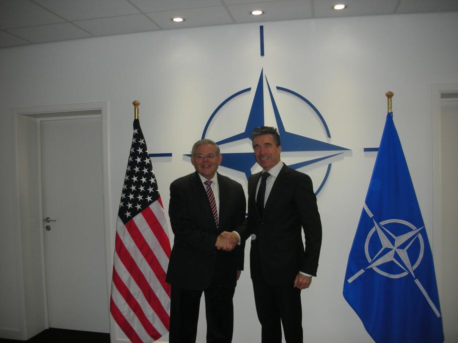 Chairman Menendez with Anders Fogh Rasmussen, Secretary General of NATO