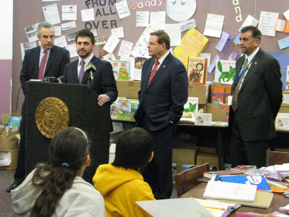 L to R: Harold S. Koplewicz, MD, founder and president of the Child Mind Institute, Little Ferry Mayor Mauro Raguseo, Senator Robert Menendez, Ferry Schools Superintendent Frank Scarafile