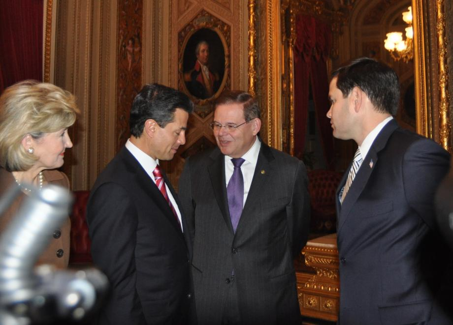 Menendez and other Members of the Senate Meet with Mexico's President Enrique Peña Nieto
