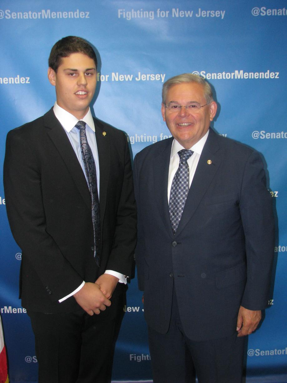 Sen. Menendez with Joseph C. Shavel of Pennington, who was accepted into the U.S. Naval Academy