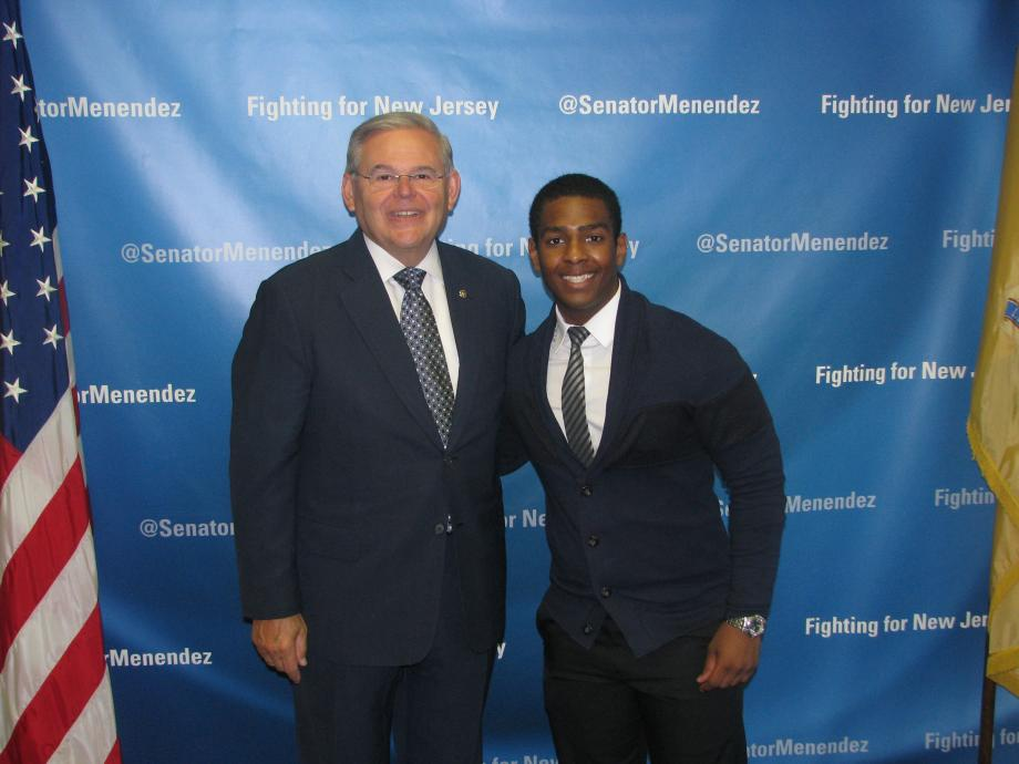 Sen. Menendez with Miloody Vincent of Irvington, was accepted into the U.S. Naval Academy Preparatory School