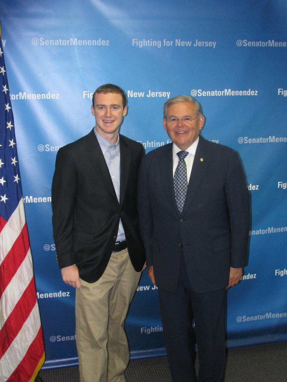 Sen. Menendez with Tate Bowers of Montclair, who was accepted into the U.S. Military Academy at West Point