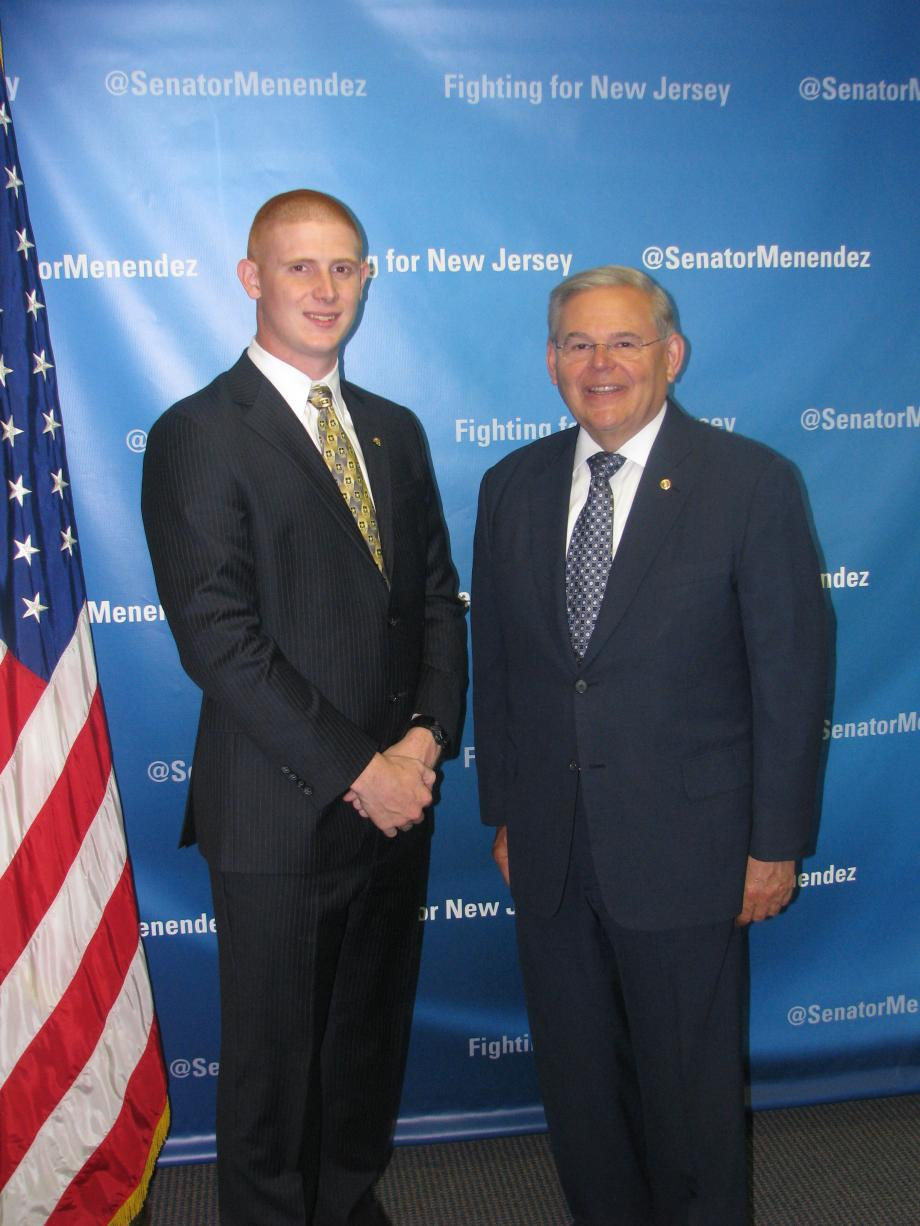 Sen. Menendez with Michael Herbert of Whippany, who was accepted into the U.S. Military Academy at West Point