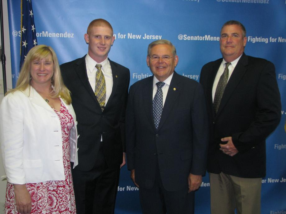 Sen. Menendez with Michael Herbert of Whippany, who was accepted into the U.S. Military Academy at West Point, and guests