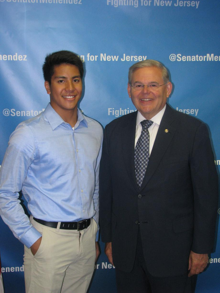 Sen. Menendez with Joshua Sembrano of Hasbrouck Heights, who was accepted into the U.S. Military Academy at West Point