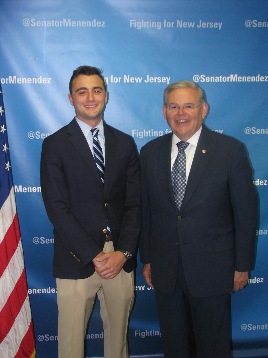 Sen. Menendez with Karl Maur of Far Hills, who was accepted into the U.S. Military Academy at West Point