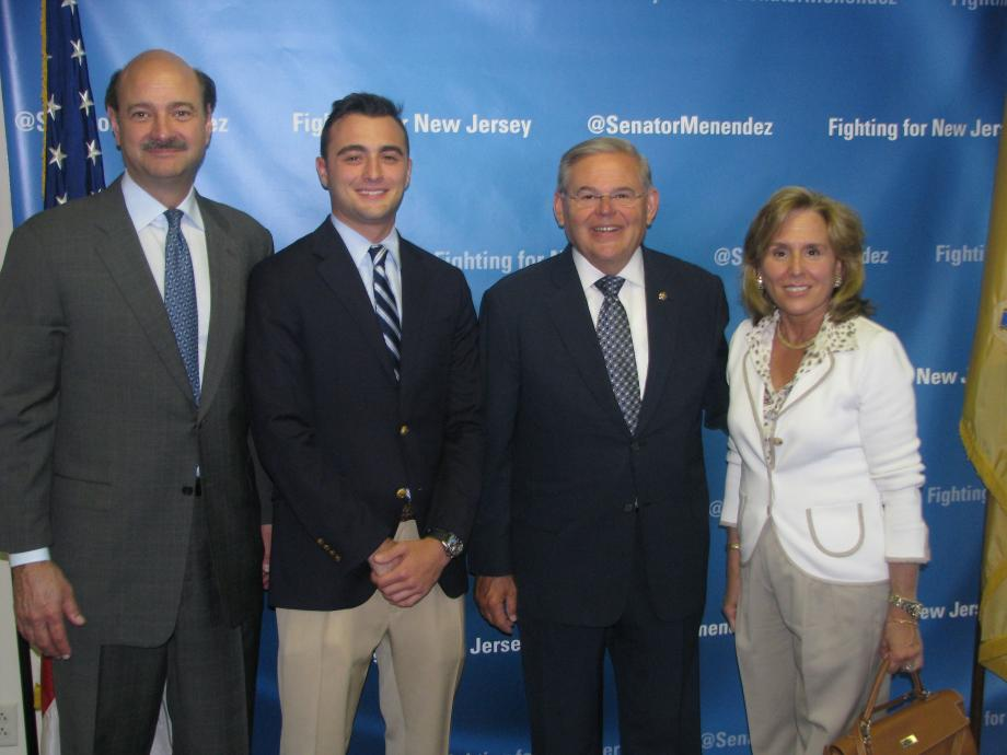 Sen. Menendez with Karl Maur of Far Hills, who was accepted into the U.S. Military Academy at West Point, and guests