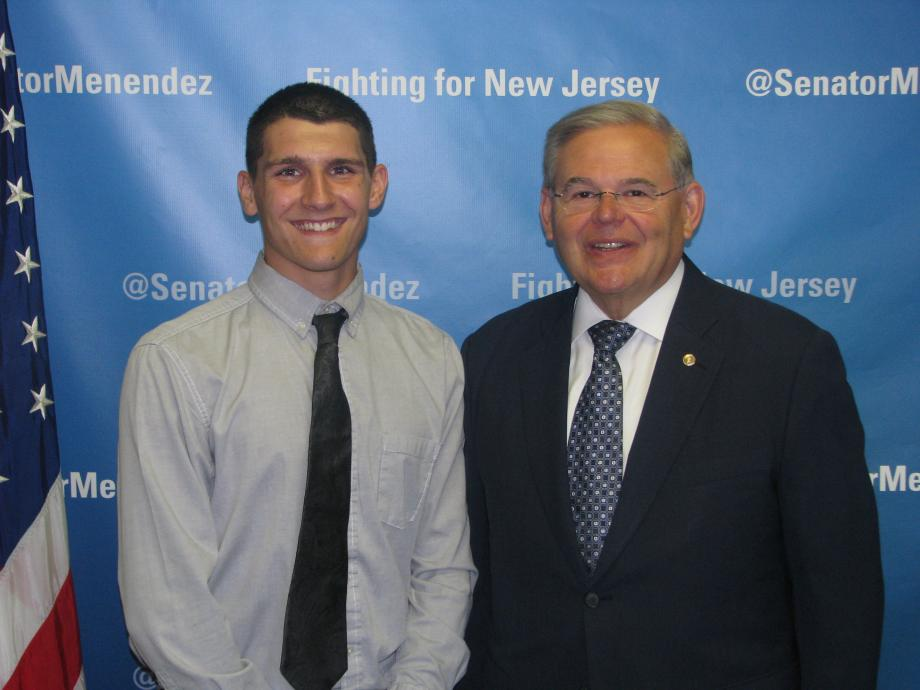 Sen. Menendez with Tyler Rokosny of Clifton, who was accepted into the U.S. Air Force Academy Preparatory School