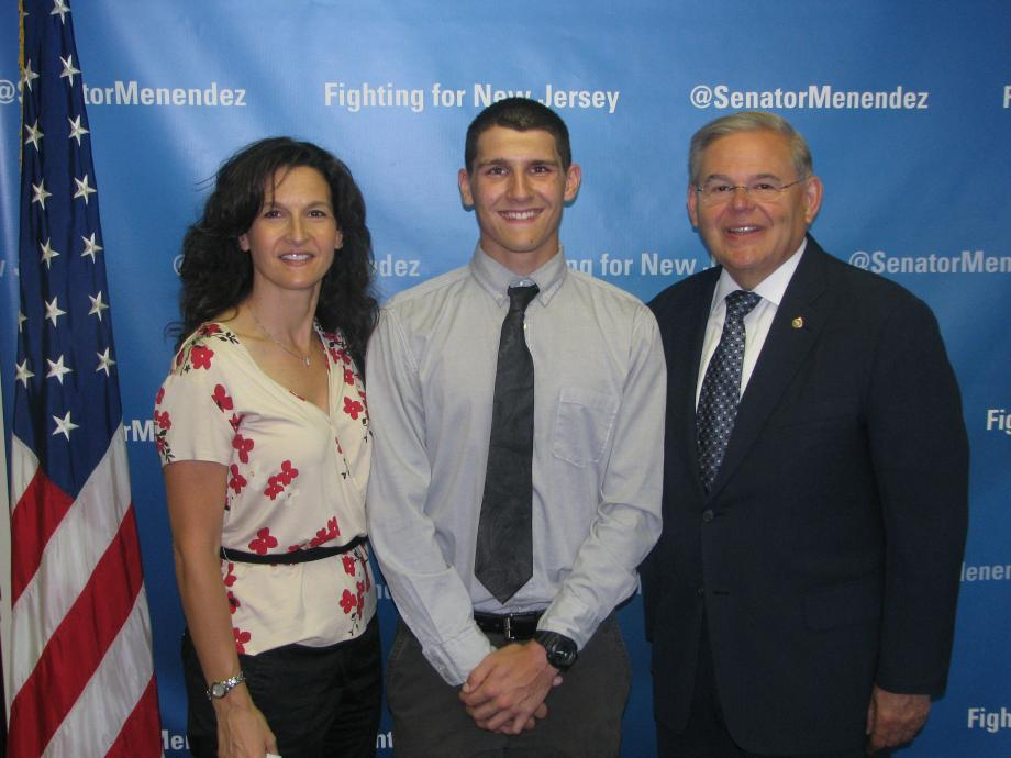 Sen. Menendez with Tyler Rokosny of Clifton, who was accepted into the U.S. Air Force Academy Preparatory School, and a guest