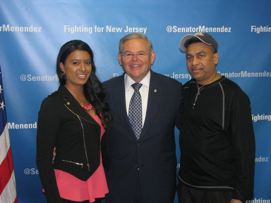Sen. Menendez with Samantha Mohammed of Freehold, who was accepted into the U.S. Air Force Academy, and a guest