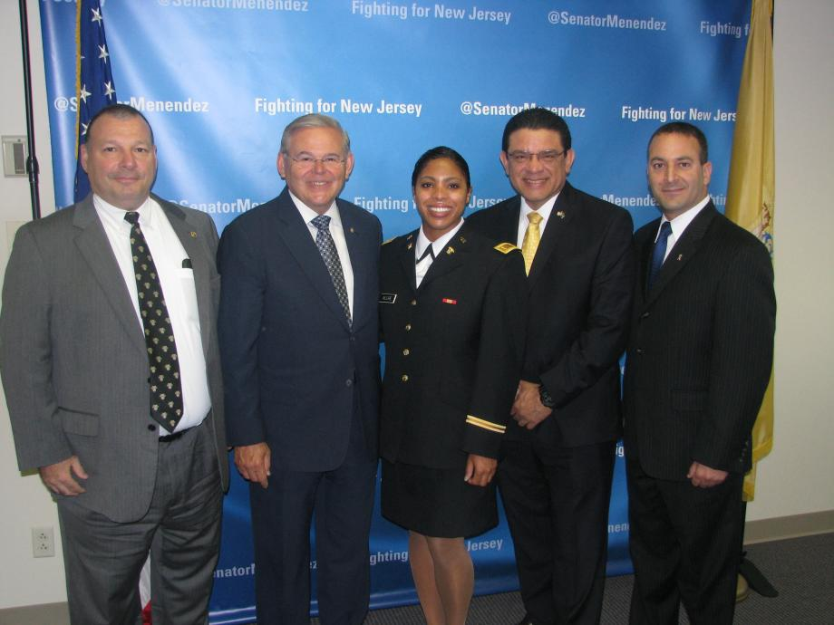 Sen. Menendez congratulates Alisea Moore, who recently graduated from the U.S. Military Academy at West Point, and guests