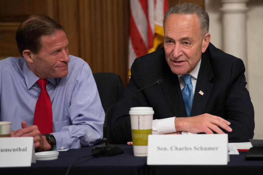 Senators Schumer and Blumenthal at media roundtable