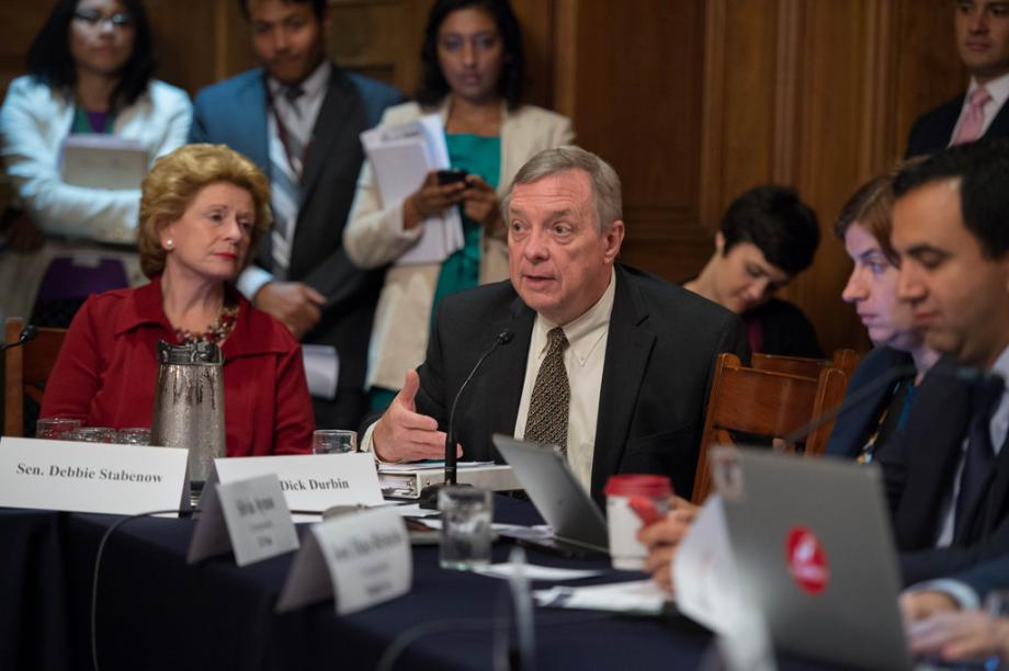 Sen. Durbin answers questions during the media roundtable.